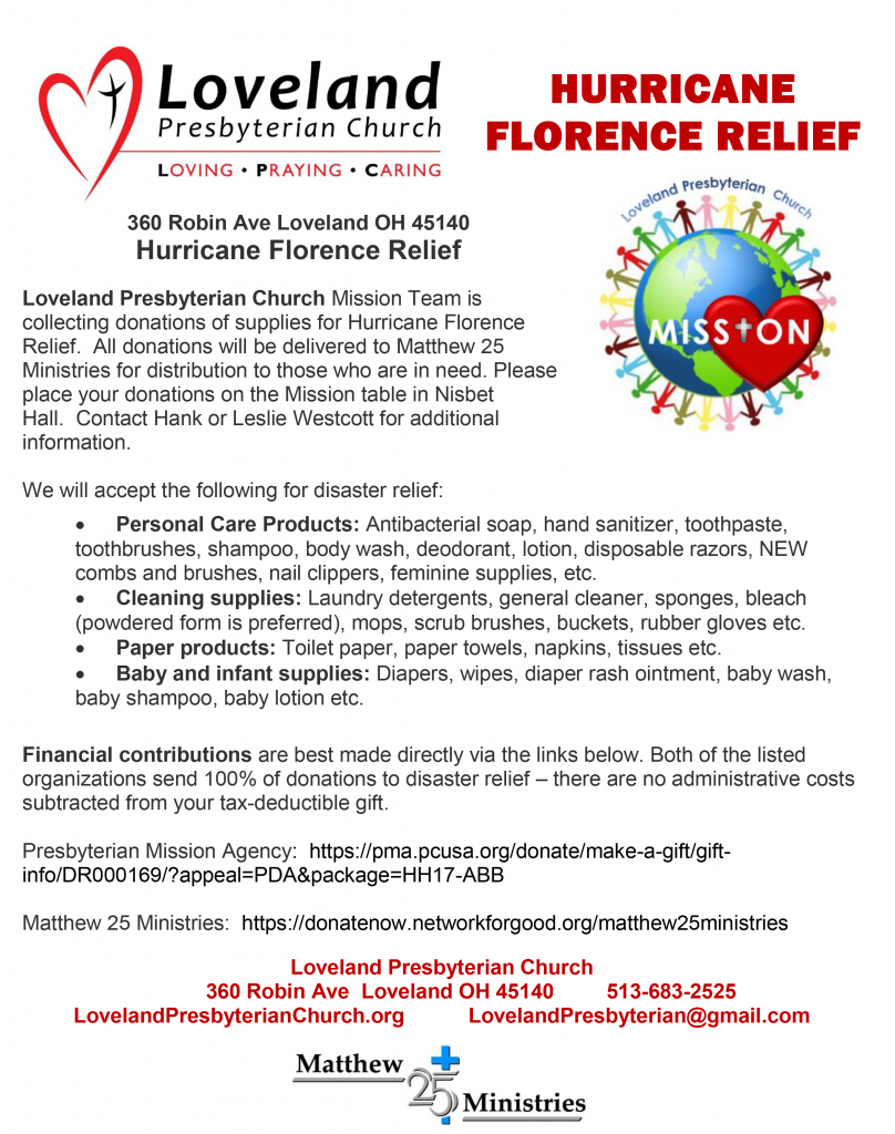 Hurricane Florence relief information